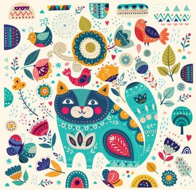 Posters Vecteur, coloré, Illustration, beau, chat, papillons, oiseaux, fleurs