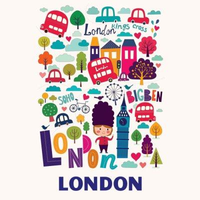Posters Vecteur coloré modèle avec des symboles de Londres