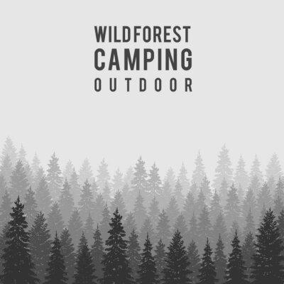 Posters Vecteur de conifères sauvages forêt de fond. Gabarit de conception de camping en plein air