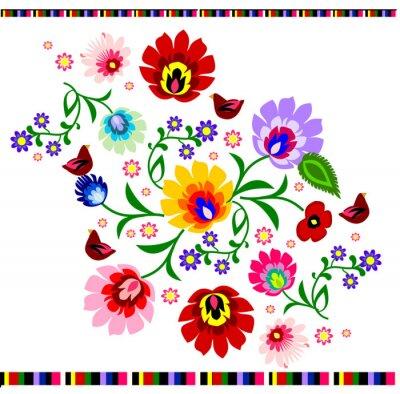 Posters Vecteur de motif floral folklorique polonaise traditionnelle