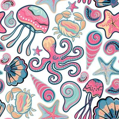 Posters Vecteur, main, dessiné, seamless, modèle, méduse, coquilles, étoile de mer, poulpe, crabes. océan, fond