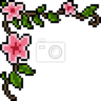 Posters Vecteur Pixel Art Fleur Décoration