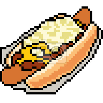 Posters Vecteur Pixel Art Nourriture Hot Dog