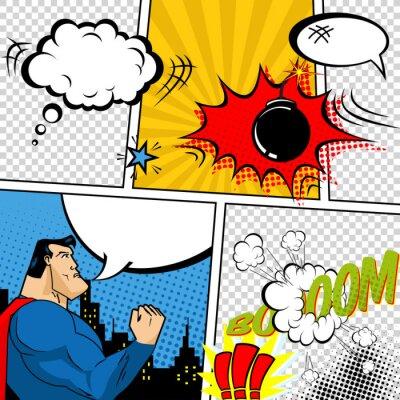 Posters Vecteur Rétro Bandes dessinées Speech Bubbles Illustration.