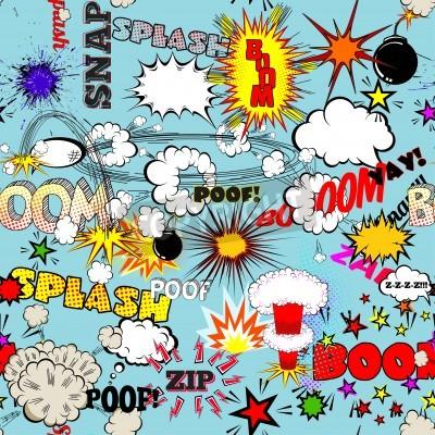 Posters Vecteur, rétro, seamless, modèle, comique, parole, bulles, étiquettes, logos, comique, livre