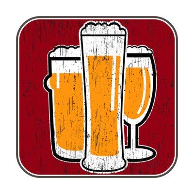 Posters vecteur russes avec différents verres de bière avec zéro