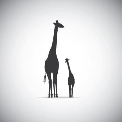 Posters Vecteur, silhouette, mère, girafe, elle, bébé