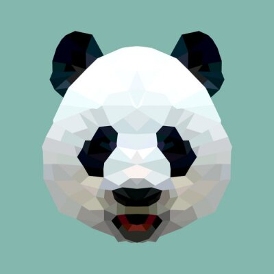 Posters vecteur tête de panda polygone isolé