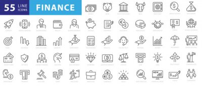Posters Vector business and finance editable stroke line icon set with money, bank, check, law, auction, exchance, payment, wallet, deposit, piggy, calculator, web and more isolated outline thin symbol