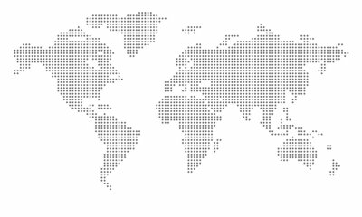 Posters Vector dotted world map. isolated background. Flat Earth, gray map template for web site pattern, anual report, inphographics. Globe similar worldmap icon. Travel worldwide, map silhouette backdrop