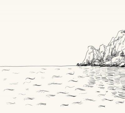Posters Vector été esquisse de paysage marin. Vue mer et montagne