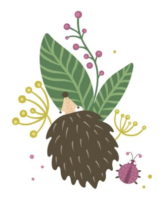 Posters Vector hand drawn flat hedgehog with berries, leaves and ladybug clip art. Funny autumn scene with prickly animal having fun. Cute woodland animalistic illustration for children's design, print