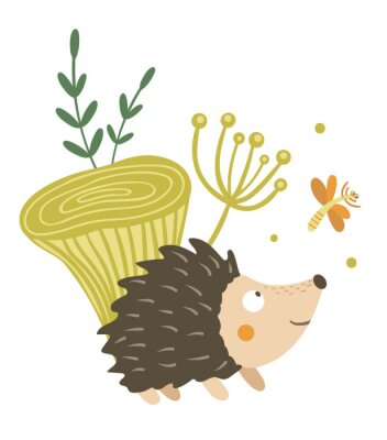 Posters Vector hand drawn flat hedgehog with mushroom and dragonfly clip art. Funny autumn scene with prickly animal having fun. Cute woodland animalistic illustration for children's design, print,
