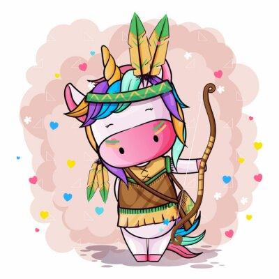 Posters Vector hand drawn illustration of a cute unicorn