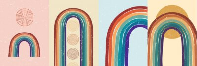 Posters Vector illustration. Abstract poster set. Contemporary backgrounds. Colorful rainbow. Design elements for book cover, page template, print, card, brochure, magazine, poster. 60s, 70s retro graphic