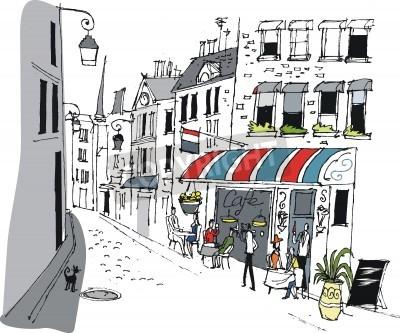 Posters Vector illustration d'un café à Paris, France.