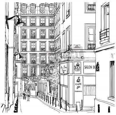 Posters Vector illustration d'une rue près de Montmartre à Paris