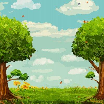 Posters Vector illustration de la belle scène de bois avec des arbres et le ciel