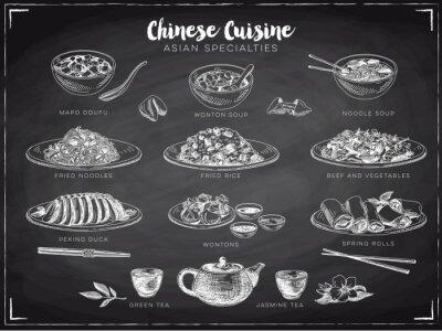 Posters Vector illustration dessinée à la main avec la nourriture chinoise.