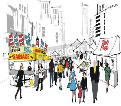 Posters Vector illustration du marché de la rue, à New York.