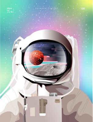 Posters Vector illustration of a portrait of an astronaut in a spacesuit in space with planets, gradient abstract background for a poster, banner or cover