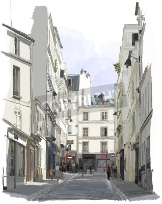 Posters Vector illustration of a street near Montmartre in Paris
