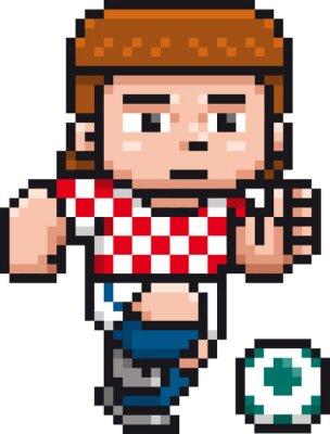Posters Vector illustration of Cartoon Soccer player - Pixel design