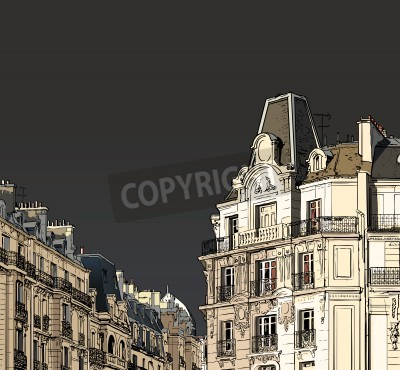 Posters Vector illustration of facades in Paris in a stormy weather