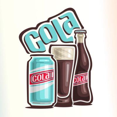 Posters Vector illustration sur le thème du logo pour le cola, composé de canette avec cola, tasse de verre rempli de cola et bouteille de verre fermé de cola