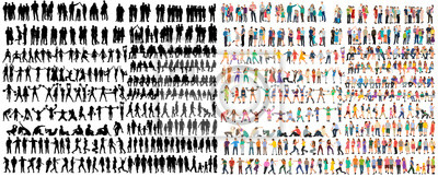 Posters vector isolated people silhouettes set