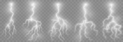 Posters Vector lightning, lightning png set, thunderstorm, lighting. Natural phenomenon, light effect. PNG.
