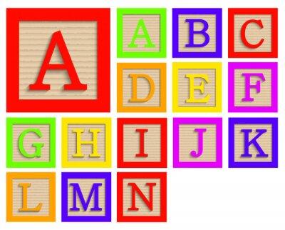 Posters Vector modernes blocs de bois mis en alphabet