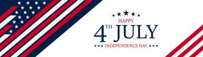 Posters Vector of US 4th of July Independence Day celebration background banner or greeting card, with text and USA flag elements.