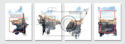 Posters Vector paint brush clipping masks for flyer, presentation, brochure, banner, poster design. City blur background.