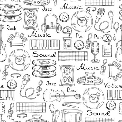Posters Vector pattern with hand drawn symbols of music on white color