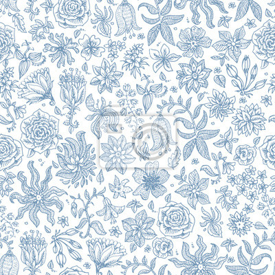 Posters Vector seamless floral pattern from hand drawn small dark blue flowers and herbs on a white background, small scale texture. Batik, wallpaper, wrapping paper, millefleur chintz textile print