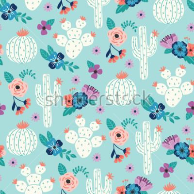 Posters Vector seamless pattern with hand drawn cactus and floral bouquets on a blue background