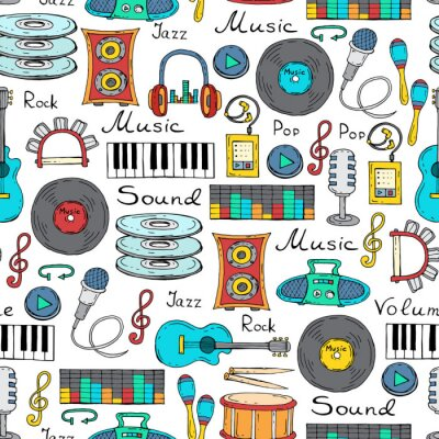 Posters Vector seamless pattern with hand drawn symbols of music