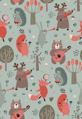 Posters Vector seamless pattern with hand drawn wild forest animals with musical instruments.