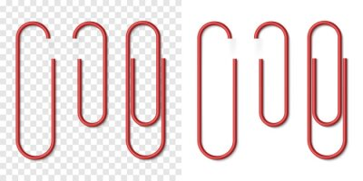 Posters Vector set of red metallic realistic paper clip