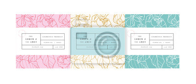 Posters Vector set pattens for cosmetics with label template design. Patterns or wrapping paper for package and beauty salons. Botanical collection,