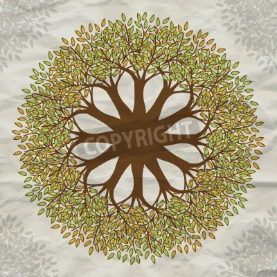 Posters Vector tree mandala background with grunge paper