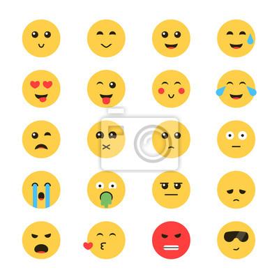 Vectoriel Emoticone Emoticon Ensemble Emoticon Fond Blanc Affiches Murales Posters Emoticones Message Texte Smileys Myloview Fr