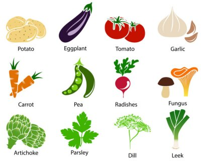 Posters Vegetable Icons With Title