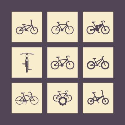 Posters vélo, vélo, moto, vélo électrique, vélo graisse icônes carrées