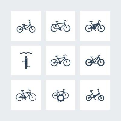 Posters Vélo, vélo, vélo électrique, fat-bike simple icônes, illustration vectorielle