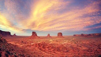Posters Vendange, tonique, monument, vallée, après, Coucher soleil, USA