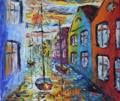 Posters Venise bateau flottant dans les rues, peinture à l'huile