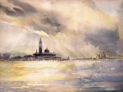 Posters Venise, Italie au coucher du soleil. Image créée avec des aquarelles.