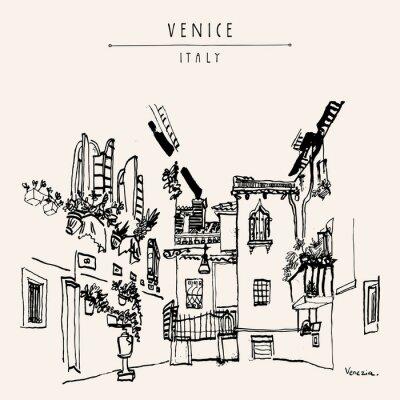 Posters Venise, Italie, Europe, vendange, main, dessiné, carte postale